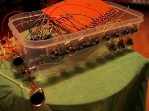 Connections: top row -stereo jacks, bottom row mono jacks