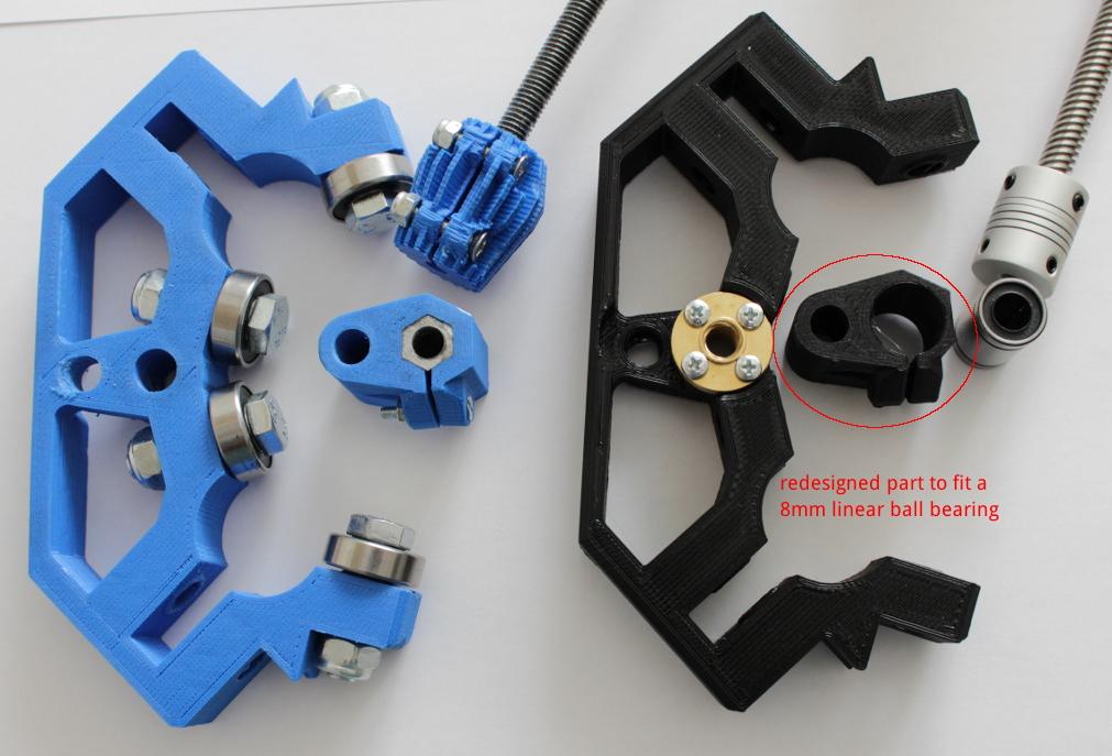 Redesigned F Nutlock for 8mm linear bearing